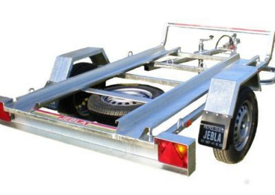 Two Model M2 motorcycle trailer