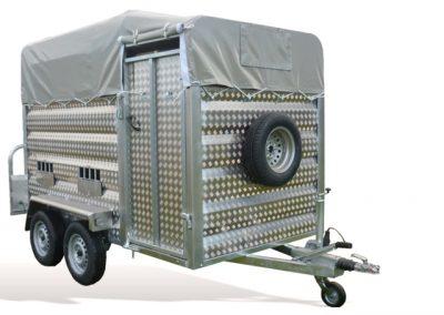 Remolque ganadero pivote aluminio cuadrado toldo modelo F7