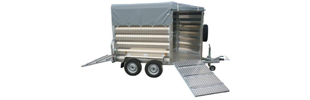 Remolque ganadero pivote aluminio punta toldo modelo F5